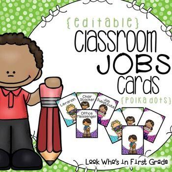 Cute classroom job cards
