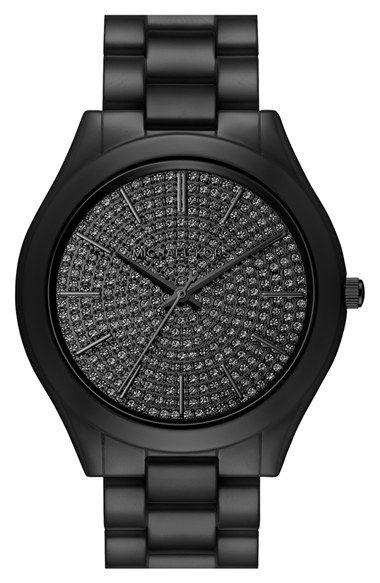 eaa564c798 Michael Kors 'Slim Runway' Pavé Dial Ceramic Bracelet Watch, 42mm ...