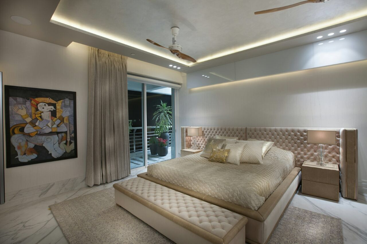 master bedroom at a single level apartment at dlf aralias gurgaon designed and built