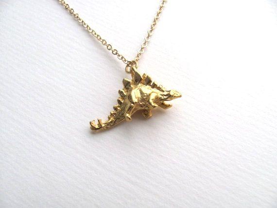N077 Gold Silver Simple Origami Dinosaur Necklace Cute Paper Modern Minima Animal Pendant