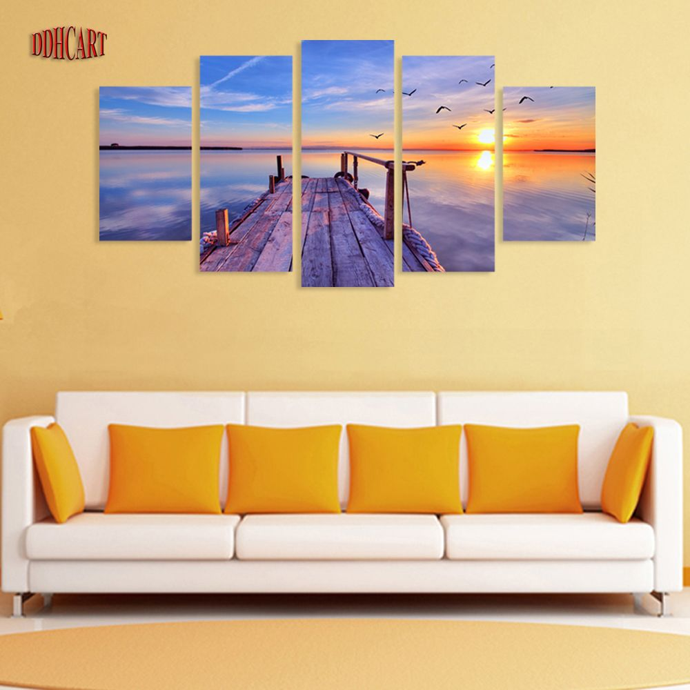 5 Piece Seaview Sunset and Bridge Picture Painting on Canvas for ...