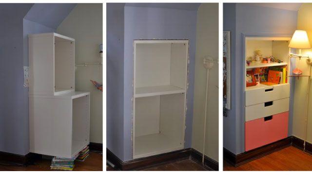 build a shelf and storage unit into a wall house ideas pinterest rh pinterest com Simple Wall Shelves Barn Wood Wall Shelves