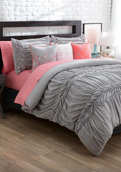 With This Solid, Textured Comforter Mini Set, You Can Create An Ensemble  True To Your Style! Choose From White, Gray Or Coral To Get Started, ...