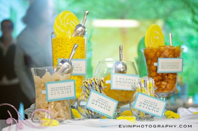 Yellow wedding candy table @Crystal Chou Kirschke - this could be cute!