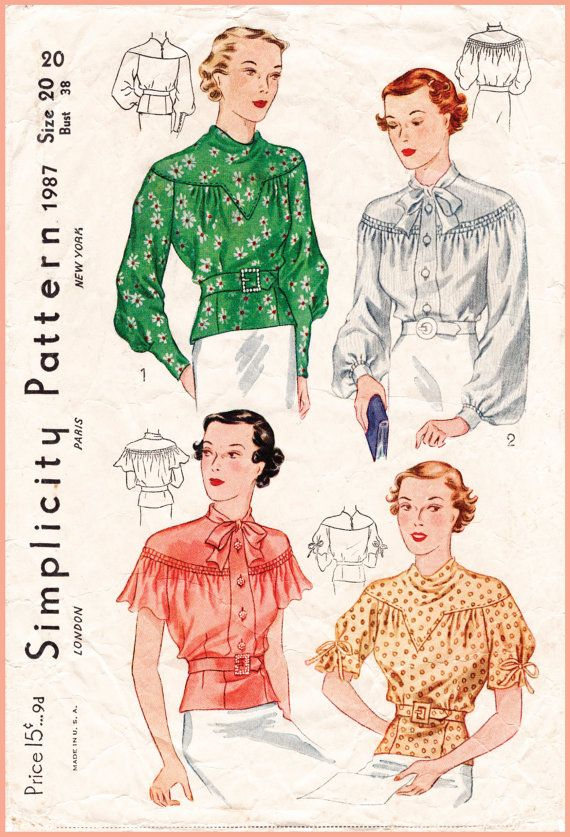 Vintage Sewing Pattern 1930s 30s set of blouses 4 styles art deco ...