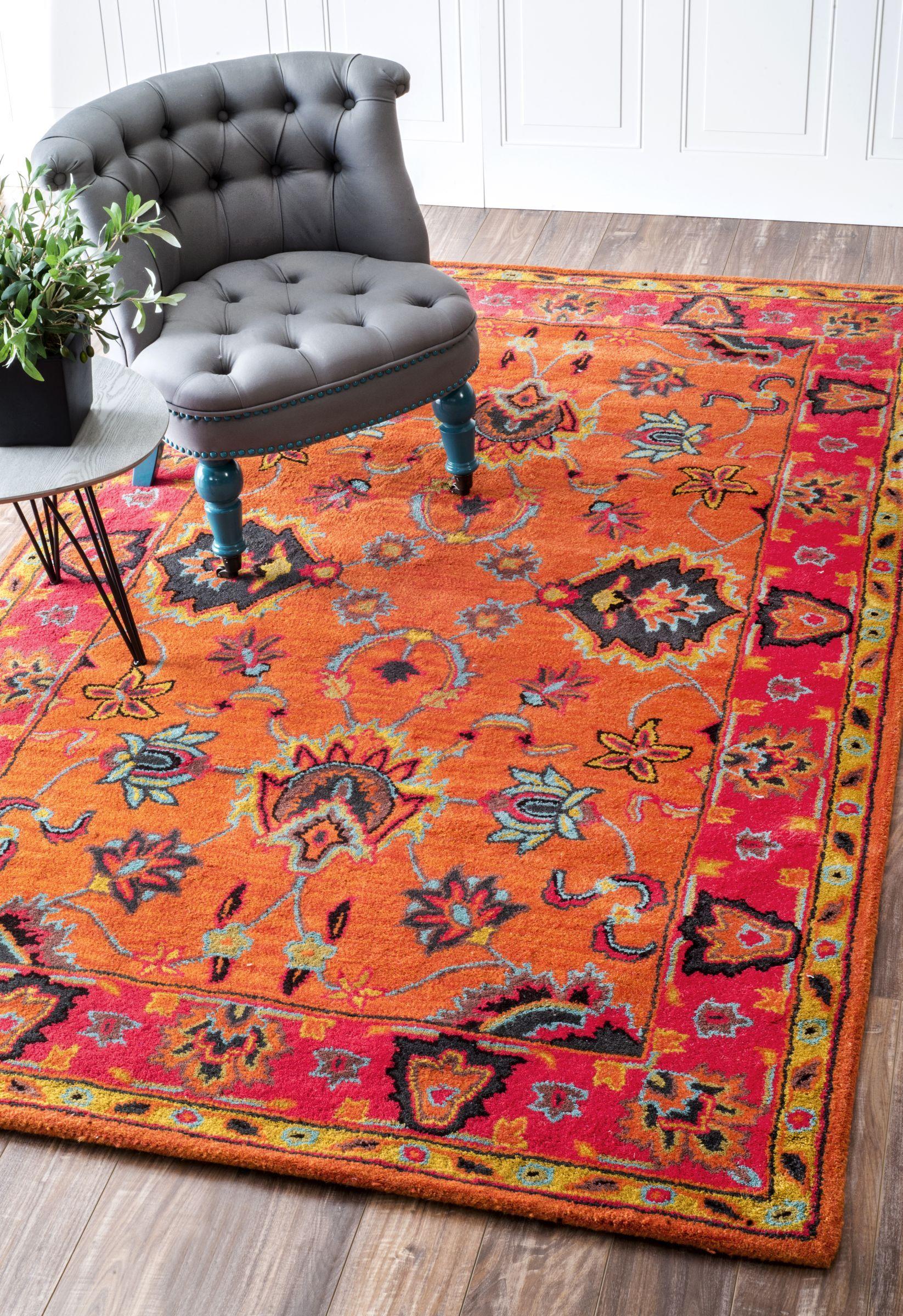 Overdye Vibrant Adileh Orange Rug Area Rugs Rugs Wool Area Rugs
