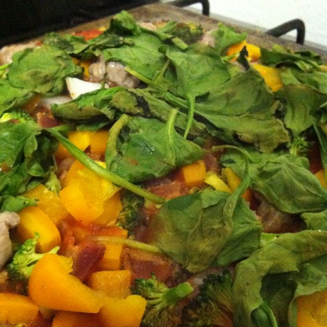Paleo pizza. Made with cauliflower pizza dough and a plethora of ...