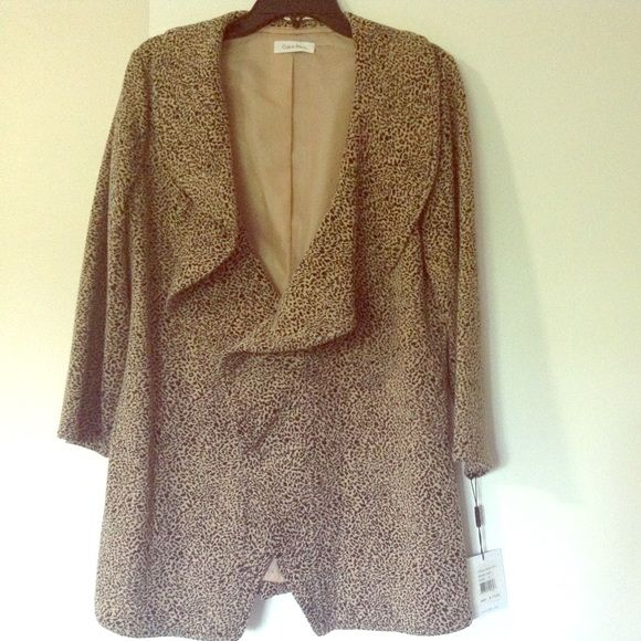 Calvin Klein cheetah print ruffle coat It's new with tags! I got this on sale for $95 I think. It's super cute but not my size. Calvin Klein Jackets & Coats