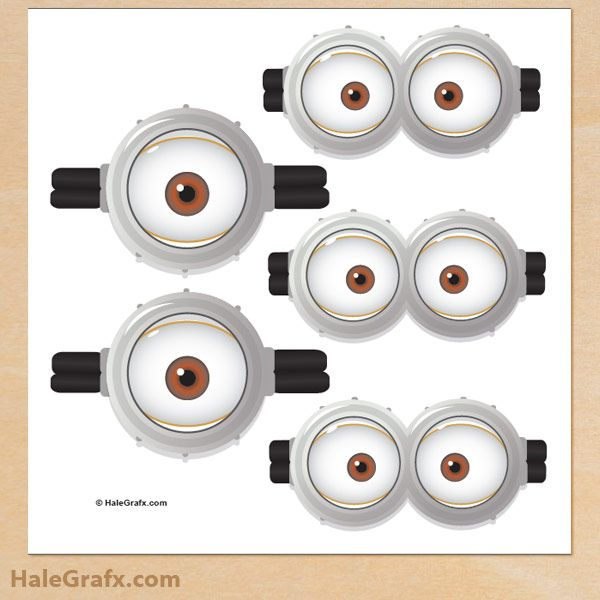This is an image of Free Printable Minion Eyes with transparent