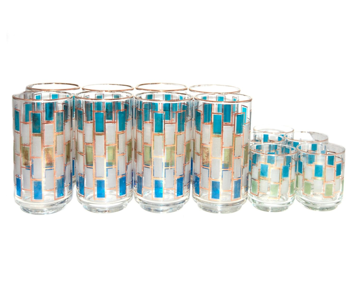 Vintage Blue, Green, and Gold Cocktail and Shot Glasses