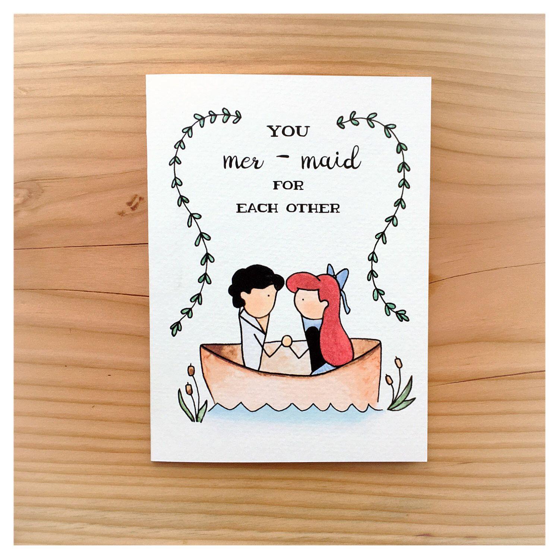 Mermaid Wedding Card Anniversary Card Punny Pun Card Wedding Pun The Little Mermaid Ariel Kiss The Gi Wedding Card Diy Punny Cards Inspirational Cards