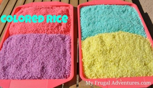 Fun colored rice. Far less messy than sand!