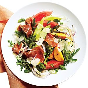 Melon Salad with Prosciutto Recipe from Cooking Light magazine. Beautiful, delicious.