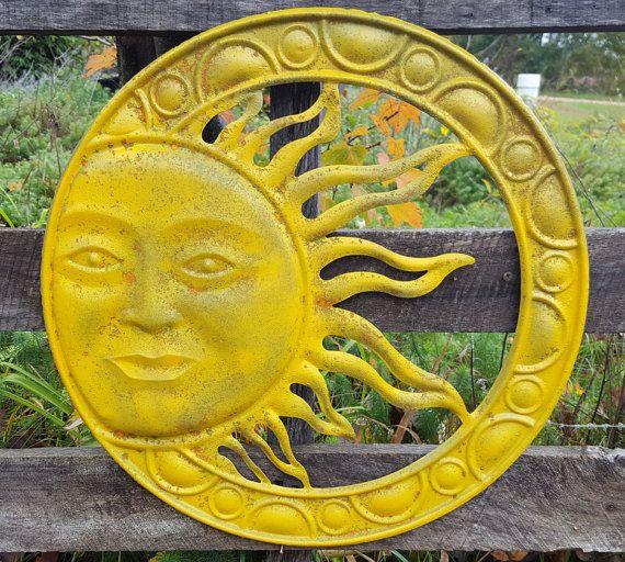 Large Metal Sun Wall Art Disressed Yellow Garden Decor Metal Sun ...