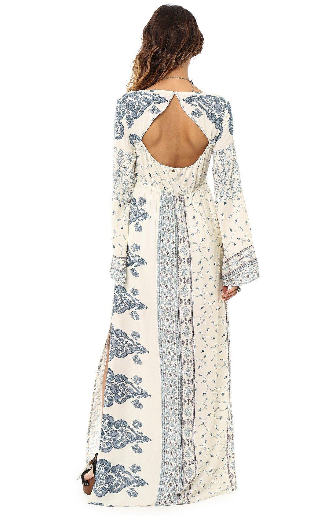 Ouneill ukansasu print long sleeve maxi dress bohemia pinterest