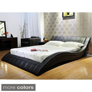 Queen Wave-like Shape Upholstered Bed