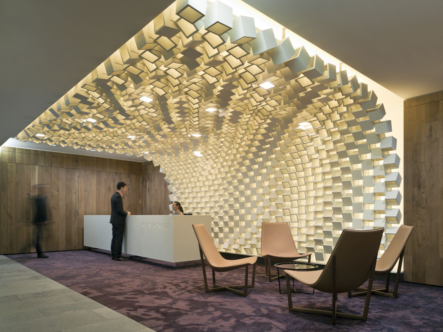 Unique Ceiling Design For The Reception Desk At Clayton Utz
