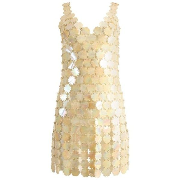 Preowned Paco Rabanne Plastic Petal Mini Dress (18580315 PYG) ❤ liked on Polyvore featuring dresses, beige, preowned dresses, short dresses, beige short dress, pre owned dresses and mini dress
