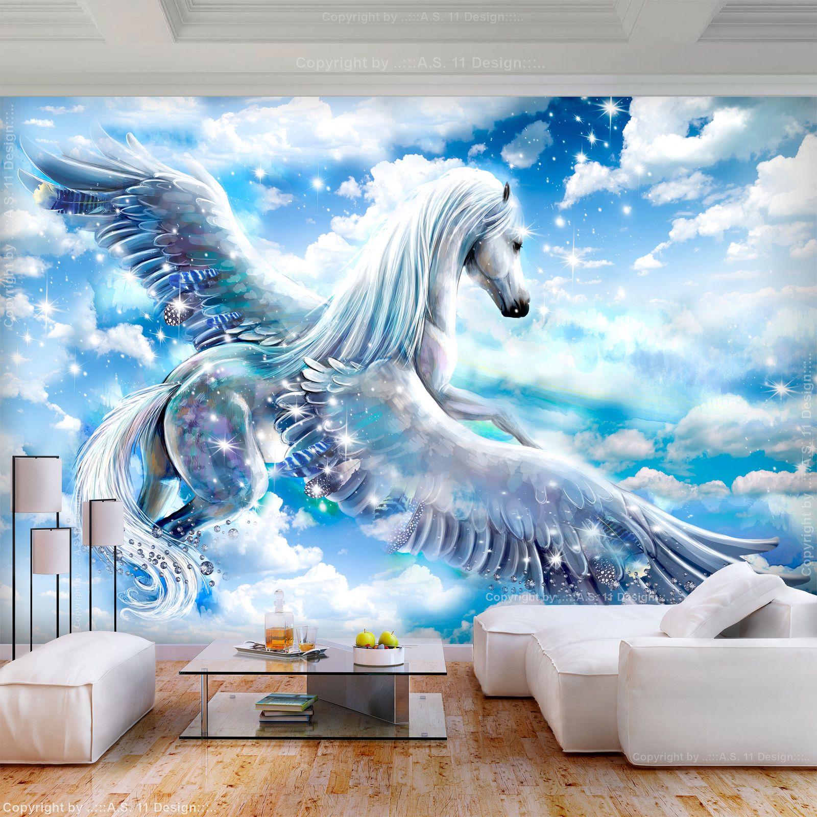 Vlies Fototapete Pferd Pegaz Blau Himmel Tapete Kinderzimmer