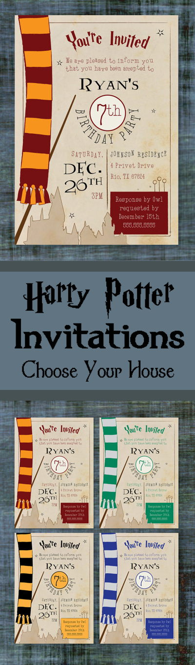 Harry Potter Birthday Invitations Allow You To Choose Which House
