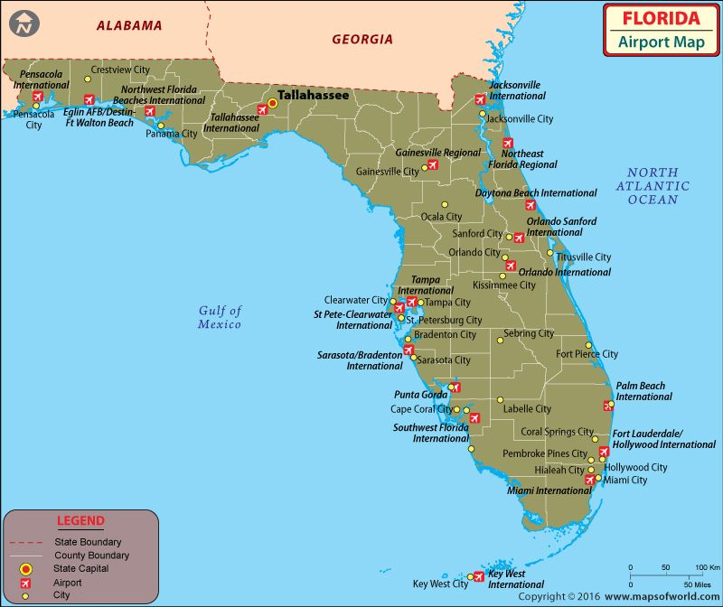 Map Of Florida And Georgia Cities.Airports In Florida Map Travel Map Of Florida Cities Map Of