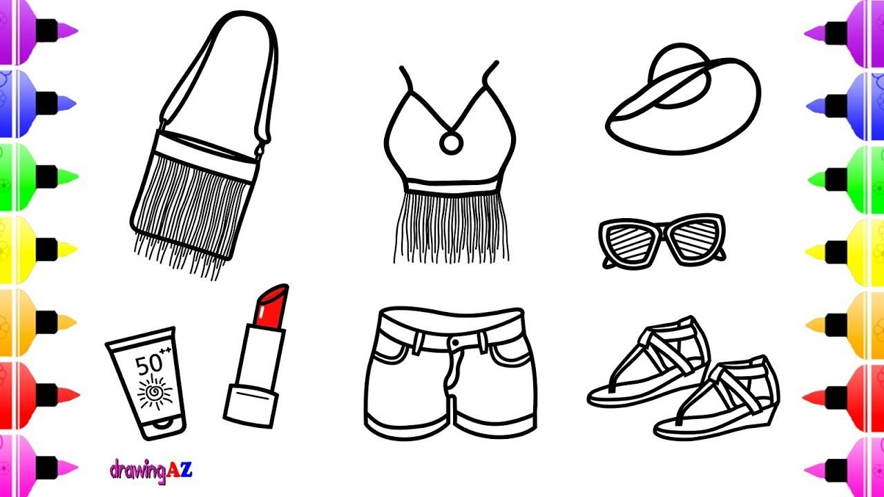 How To Draw Cute Set For Girls Coloring Lipstick Sunscreen And Outfits For Summer Coloring Page Summer Coloring Pages Coloring Pages For Kids Coloring Pages