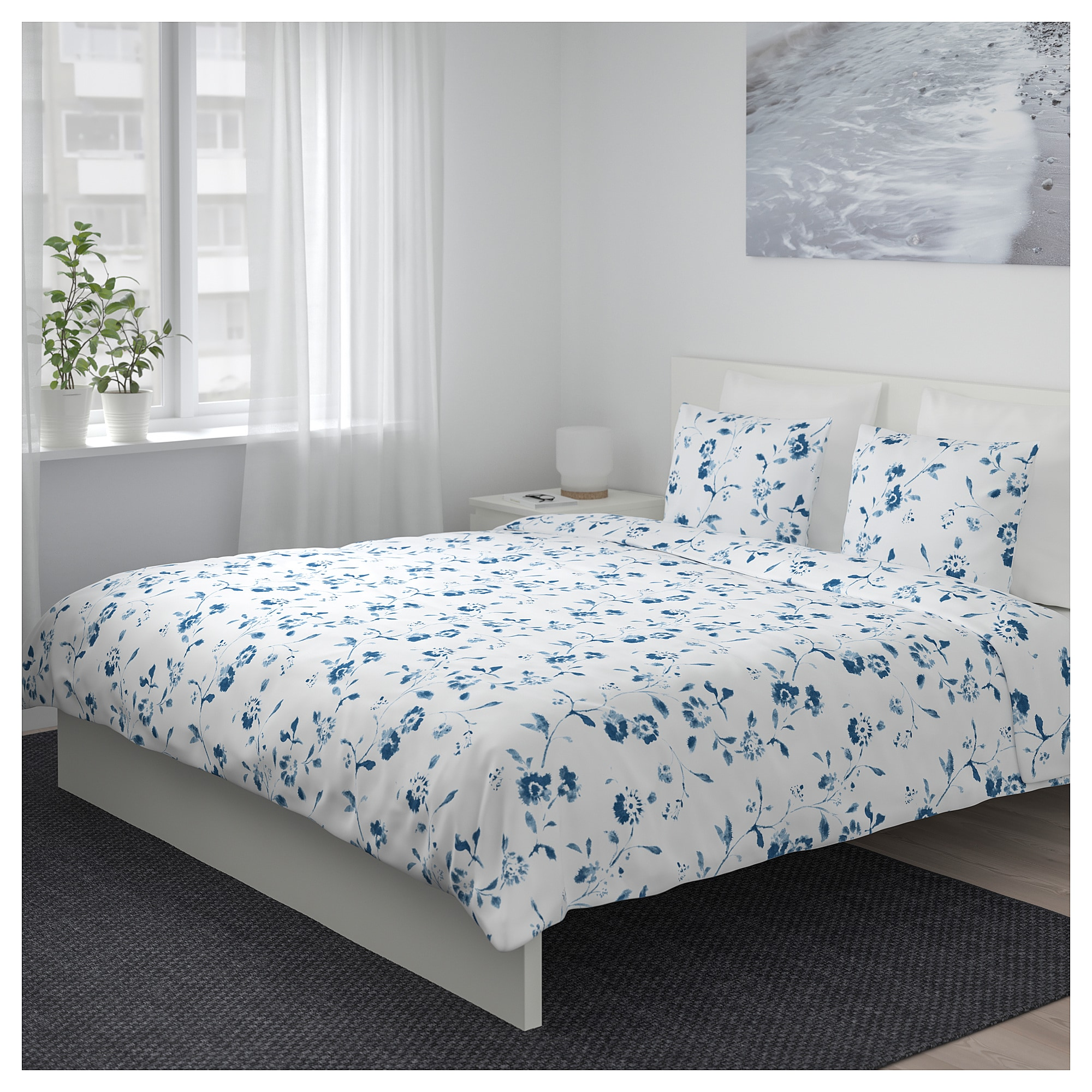 ikea  blÅgran duvet cover and pillowcases white blue