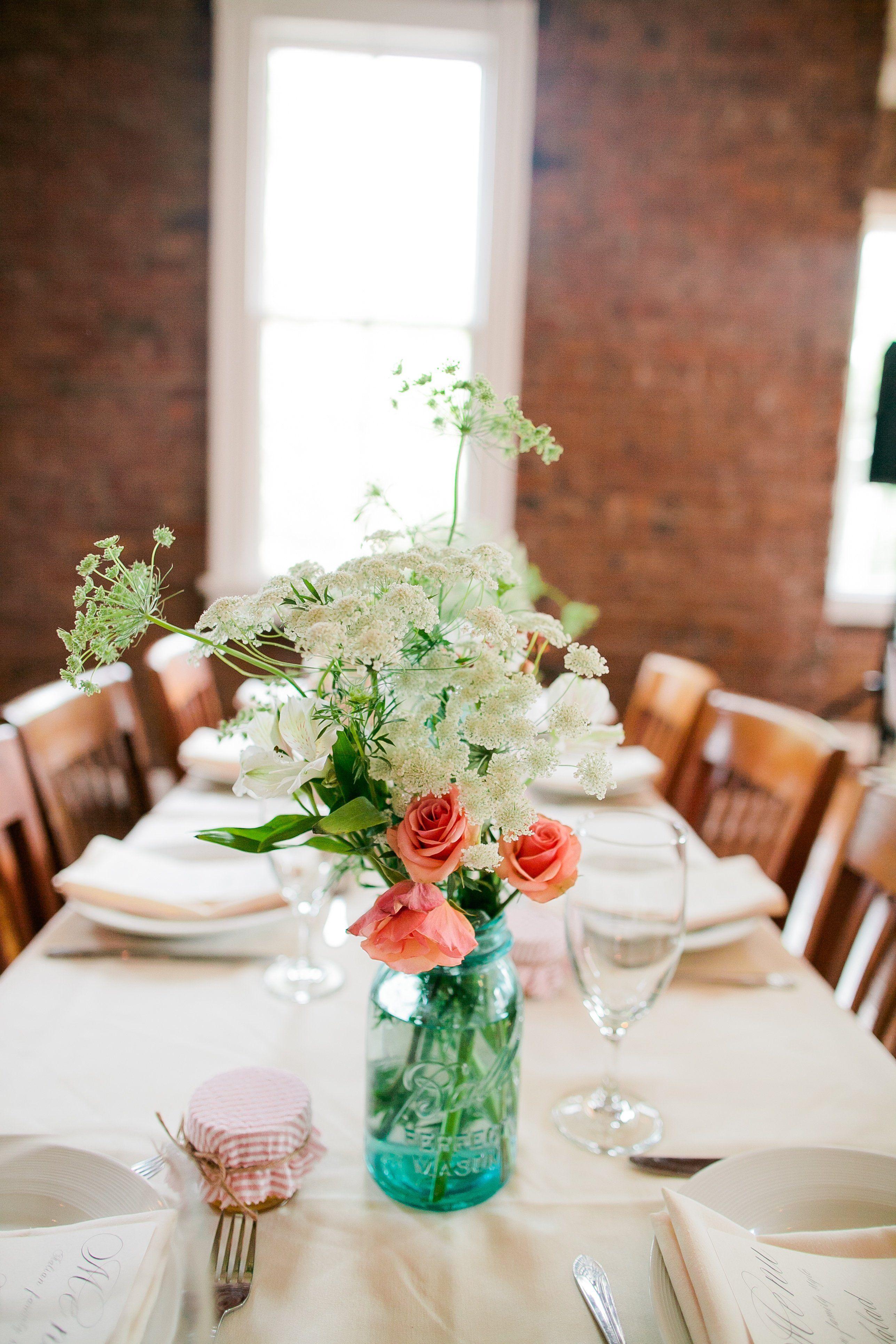 Mason Jar Wedding Decorations Queen Anne's Lace Centerpiece  Wedprep  Pinterest  Lace