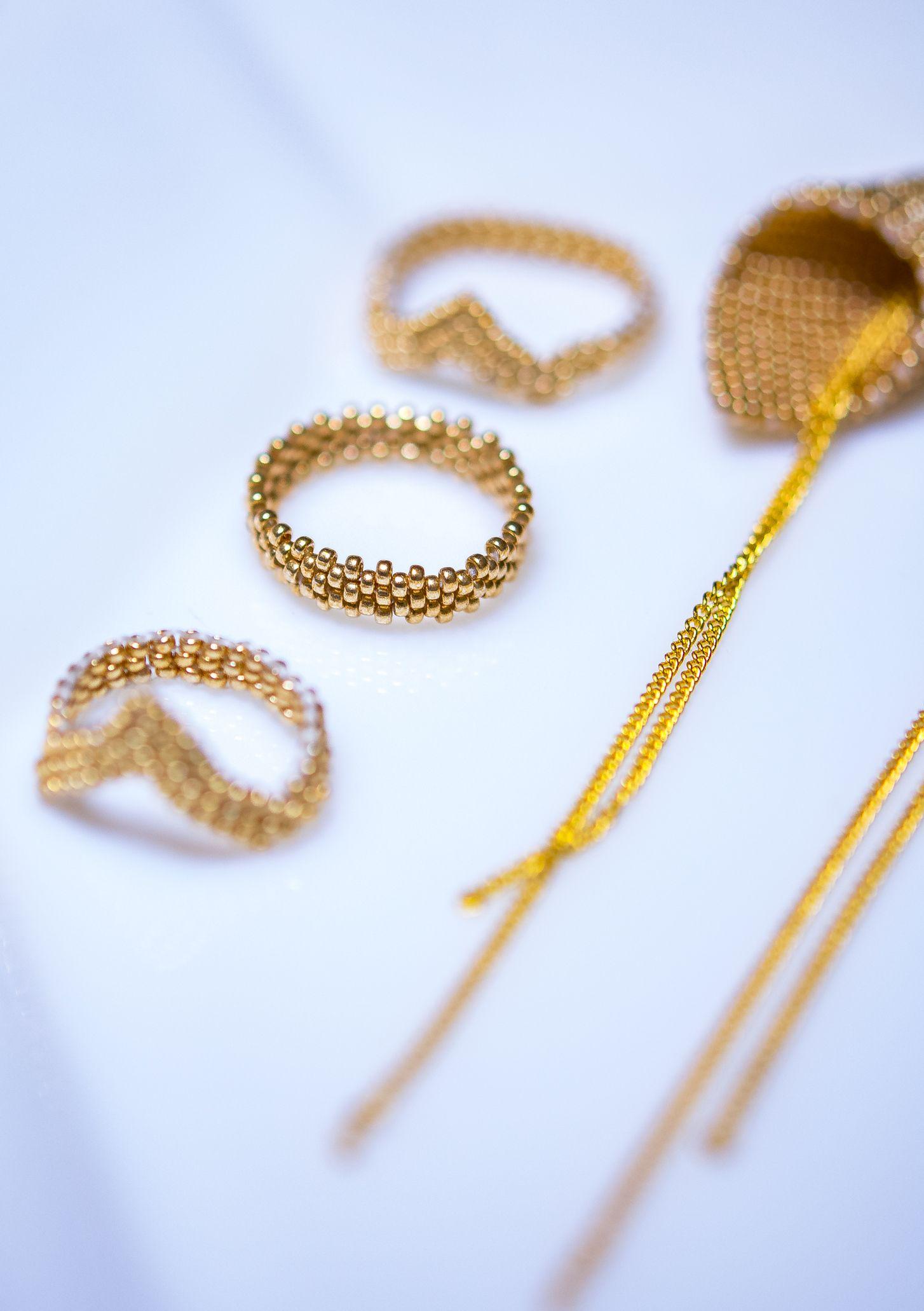Photo of golden, miyuki, beads, madebyme, peyote, earring, bracelet, ring, necklace