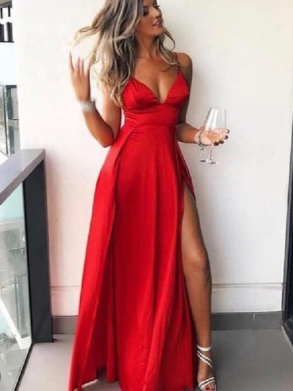 7dfe9bd5ca Affordable Red Spaghetti Strap V-Neck Side Slit Floor Length Evening Prom  Dresses