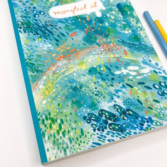 Manifest It Blank Journal Watercolor Journal Encouragement Gift