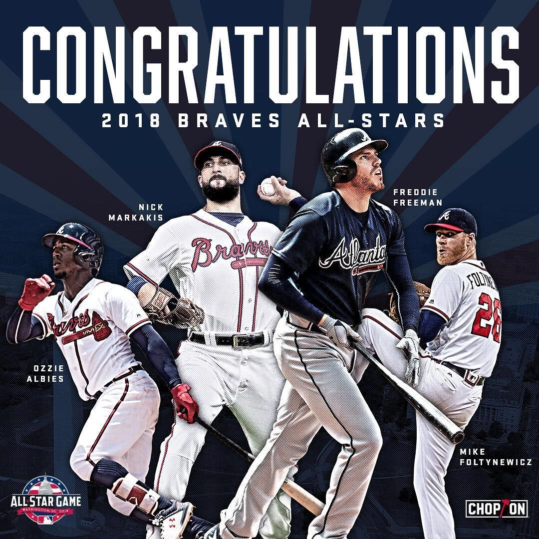 We Re Celebrating Our 4 All Stars At Suntrust Park On Tuesday All Star Poster Giveaway Pregame Ceremony A Atlanta Braves Baseball Atlanta Braves Braves