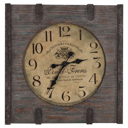 Distressed wood wall clock with a French motif.Product:  ClockConstruction Material:  WoodColor:  Dist...