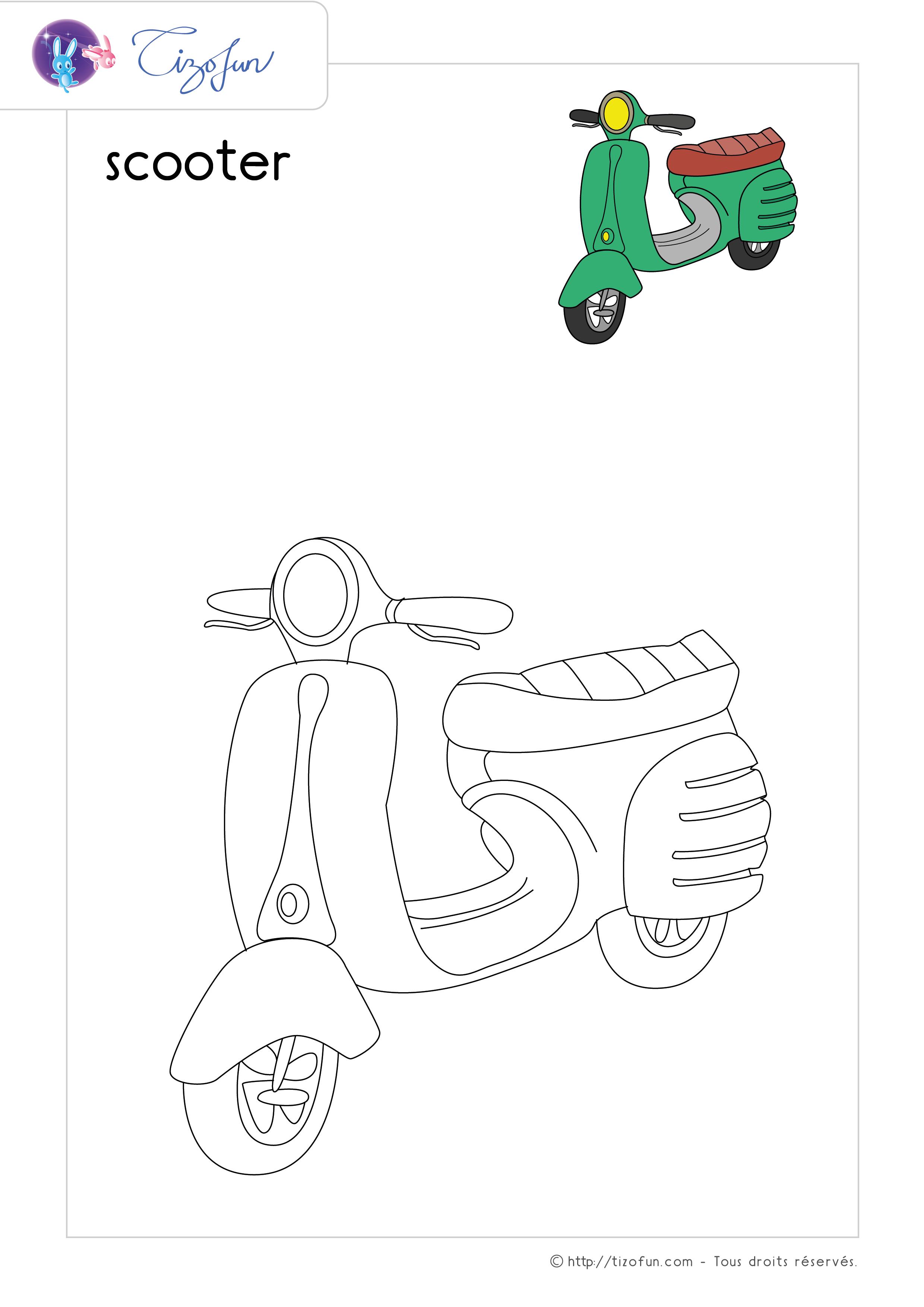 Coloriage Transport Dessin Scooter Dessin Croquis Amour Coloriage