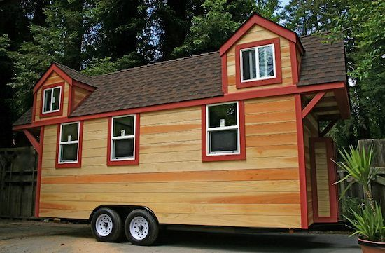 tiny-house-on-a-trailer-2-lofts-big-porch-17..2×4 construction 1/2″ sheer wall paneling Total of 304 square feet Costs about $200 per square foot to build 30 year composition shake roof Built in 2011