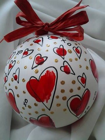 Items similar to Custom hand painted ornaments for wedding holiday favors or gift giving...cheerful hearts or lovely florals on Etsy