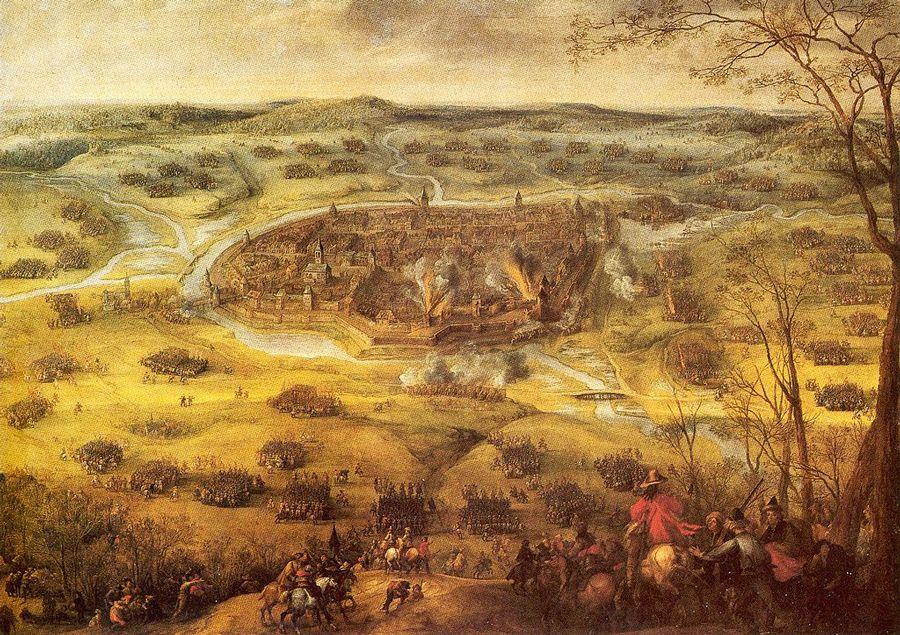 """Erövringen och belägringen av staden Neunburg som ägde rum mellan den 18 till 21 mars 1641, målad av flamländaren Pieter Snayers (1592–1667), för övrigt elev till Sebastian Vrancx. I aktsamlingen Kriget i Tyskland 1628–1648 på Krigsarkivet i Stockholm sägs: Neunburg 1641 21/3. Ordres de bataille. """"Keiserlige och Beÿersche för Newburg am Waldt den 21 Martÿ Anno 1641 då Gen: M: Slang blef fången."""""""