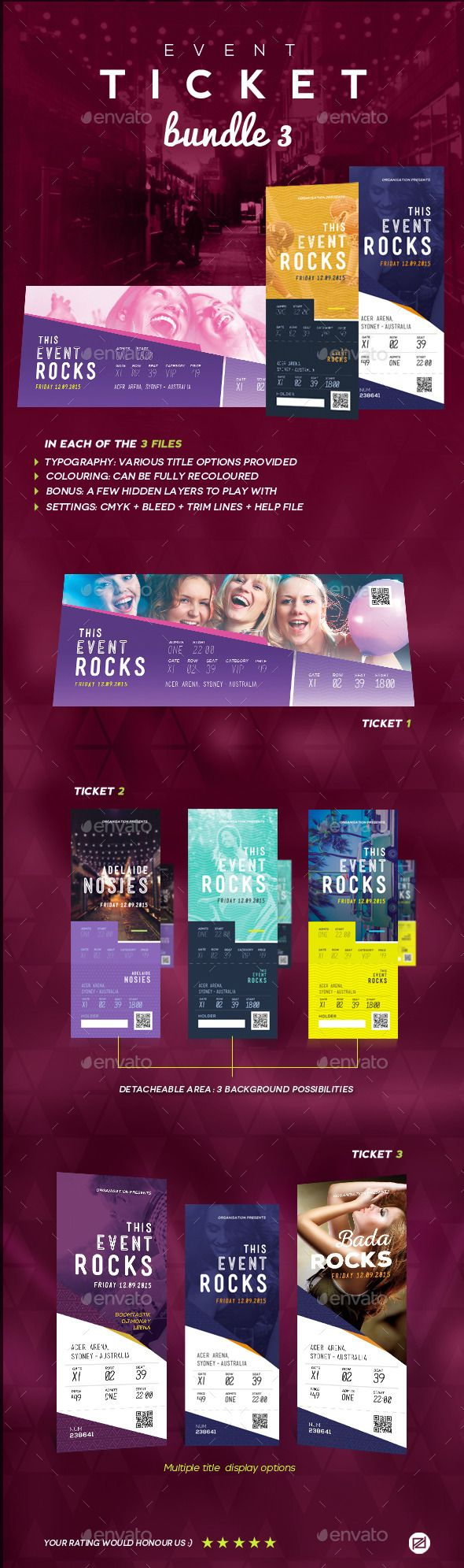 Event Tickets Bundle   Event Ticket Ticket Template And Print