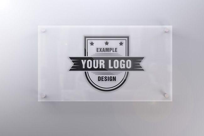 Bathroom Sign Mockup logo on office door glass plate effect - mediamodifier - online