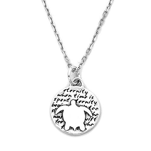4f307b7fa Kevin N Anna Turtle Eternity quote Sterling Silver Small Pendant Necklace  ** For more information, visit image link.
