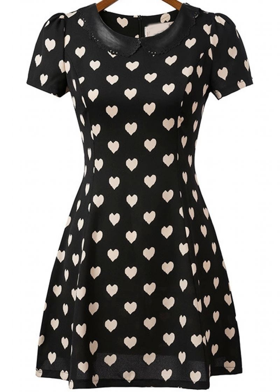 63f58fe110644 Buy Black Short Sleeve Hearts Print Dress from abaday.com, FREE ...