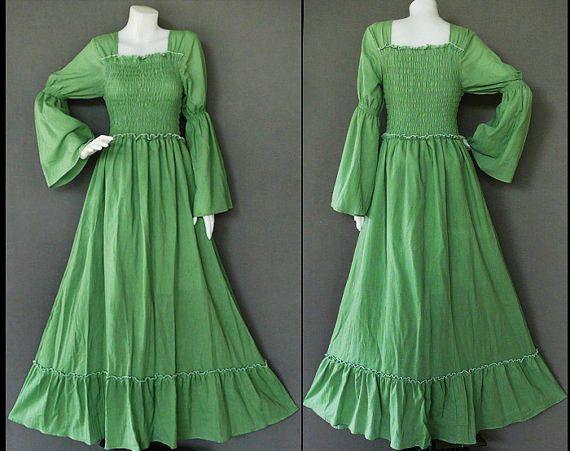 XSTO7X062 Hippie Boho SOFT GREEN Cotton Long Bell Sleeve Maxi Dress Gypsy Bohemian Style