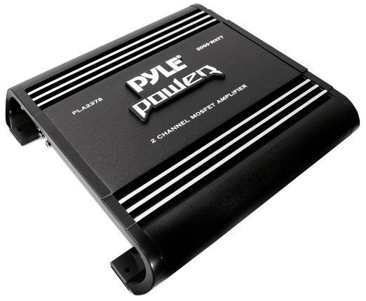 2 Channel Car Stereo Amplifier Silver Plated RCA Input Output Bass Boost Control Black 2000W Dual Channel Bridgeable High Power MOSFET Audio Sound Auto Small Speaker Amp Box w// Crossover Pyle PLA2378
