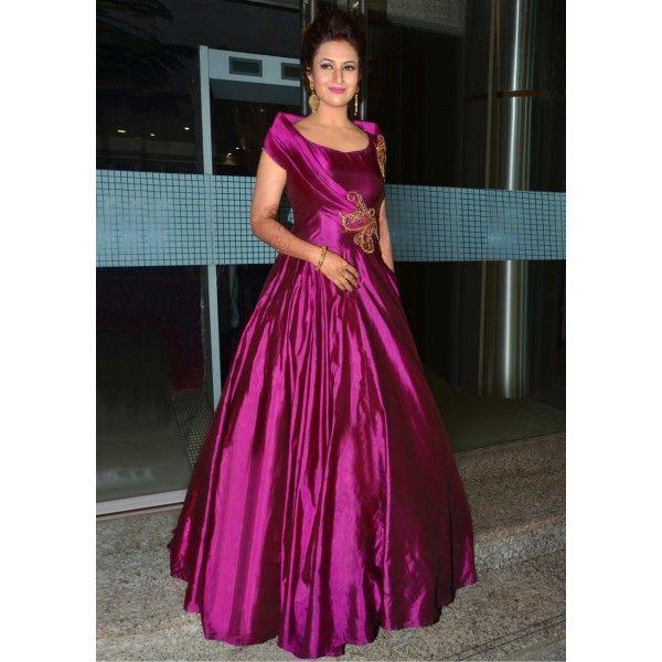 baaef05e36 Divyanka tripathi purple color taffeta silk gown by www.mongoosekart ...