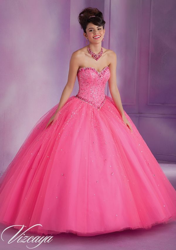 89007 Quinceanera Gowns 89007 Tulle Quinceanera Gown with Beading