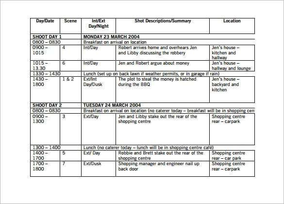 Shooting Schedule Template 3 Schedule Templates Schedule Template Word Template