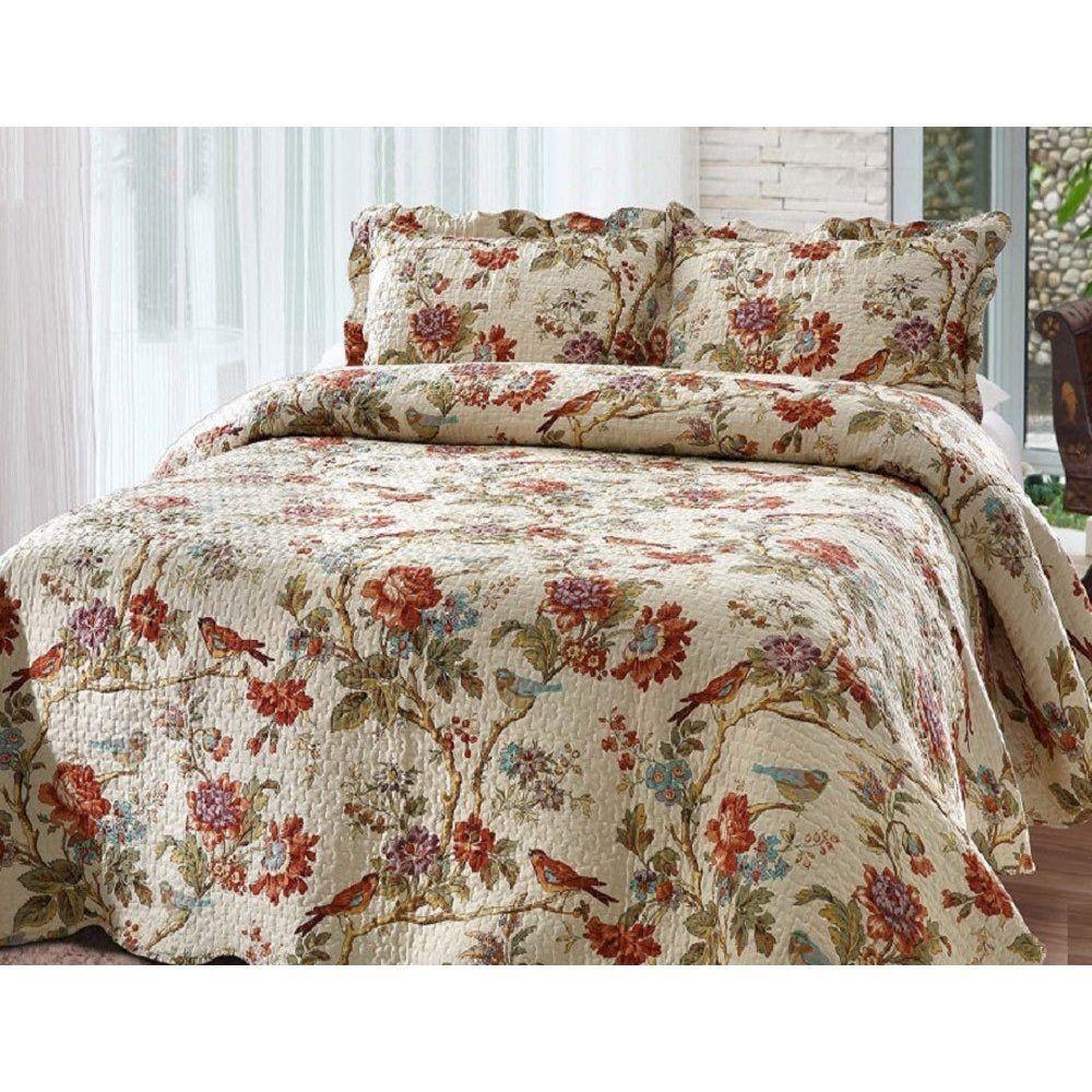 quilt set queen size bedding reversible floral scalloped bedspread pillowcases quilt sets. Black Bedroom Furniture Sets. Home Design Ideas