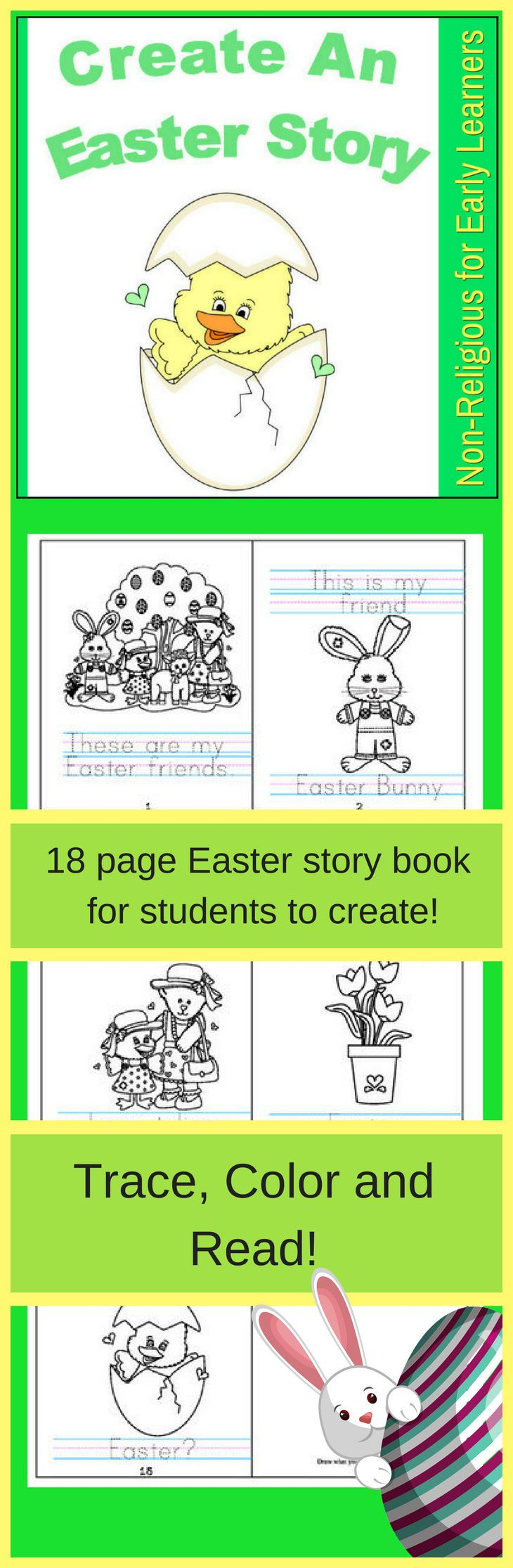 Trace, Color and Draw an Easter Story! Perfect for Preschool, PreK ...