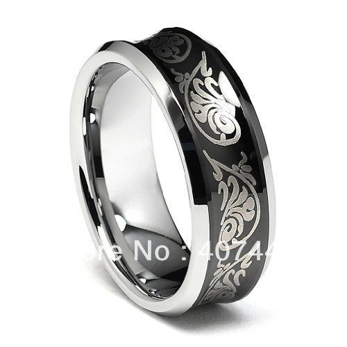 Free Shipping Price Usa Brazil Russia Hot S 8mm Black Tribal Concave Tungsten Carbide Mens Wedding Bandsmen