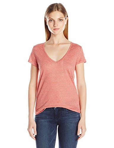 PAIGE Womens Lynnea Tee Dusty Cedar White Stripe Large *** Click image for more details.